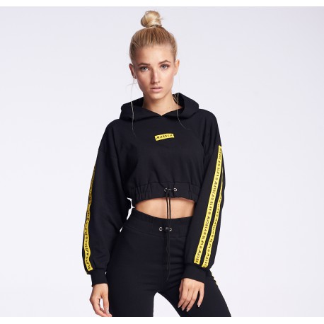 BLACK SHORT HOODIE YELLOW TAPS