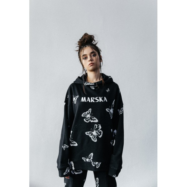 X-RAY BUTTERFLY HOODIE BLACK
